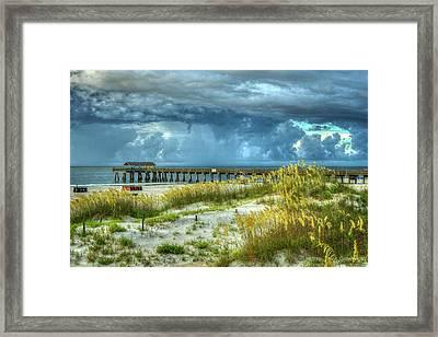 The Storm Tybee Island Pier Sea Oats Art Framed Print by Reid Callaway