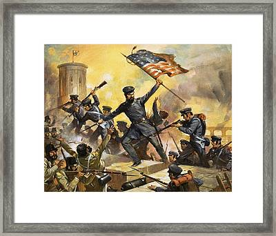 The Storming Of The Fortress At Chapultec Framed Print by English School