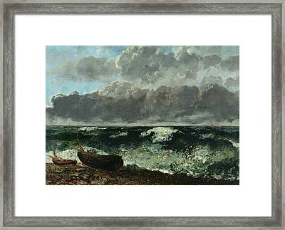 The Stormy Sea Framed Print by Gustave Courbet