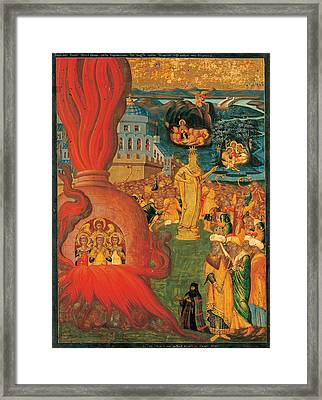 The Story Of Daniel And The Three Youths In The Fiery Furnace Framed Print by Konstantinos Adrianoupolitis