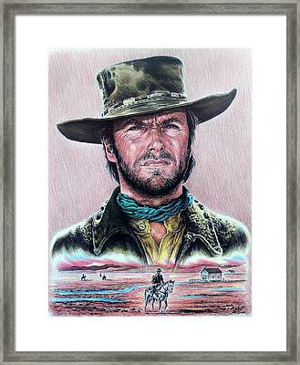 Cowboy Pencil Drawings Framed Print featuring the drawing The Stranger  New Version by Andrew Read