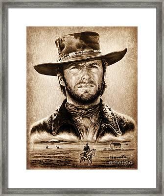 The Stranger Ye Old Wild West Edit Framed Print by Andrew Read
