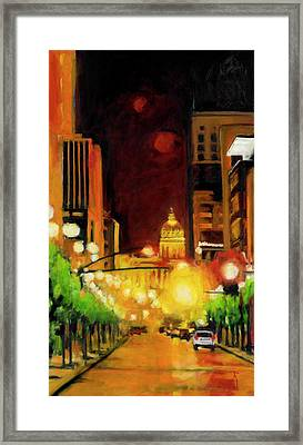 The Streets Run With Crimson And Gold Framed Print by Robert Reeves
