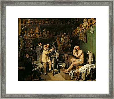 The Studio Of Jean Antoine Houdon Framed Print by Louis Leopold Boilly