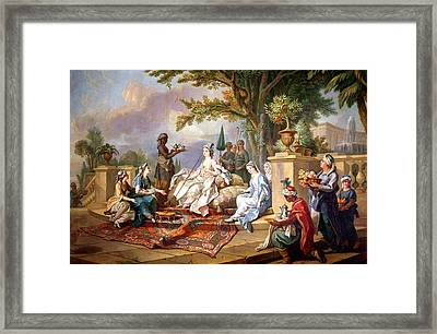 The Sultana Served By Her Eunuchs Framed Print by Charles Amedee Philippe van Loo