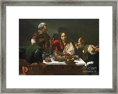 The Supper At Emmaus Framed Print by Caravaggio