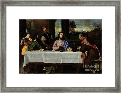 The Supper At Emmaus Framed Print by Titian