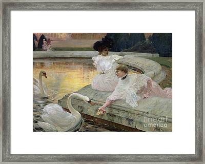 White Dress Framed Print featuring the painting The Swans by Joseph Marius Avy