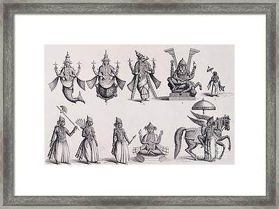 The Ten Avatars Or Incarnations Of Vishnu Framed Print by English School