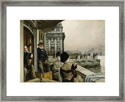 The Terrace Of The Trafalgar Tavern Greenwich Framed Print by James Jacques Joseph Tissot