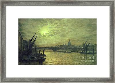 The Thames By Moonlight With Southwark Bridge Framed Print by John Atkinson Grimshaw