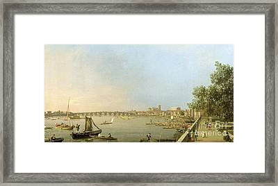 The Thames From The Terrace Of Somerset House Framed Print by Giovanni Antonio Canaletto