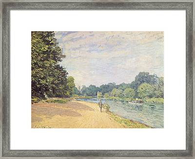 The Thames With Hampton Church Framed Print by Alfred Sisley
