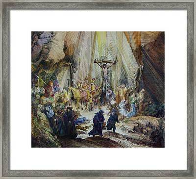 The Three Crosses- After Rembrant Framed Print by Rick Ahlvers