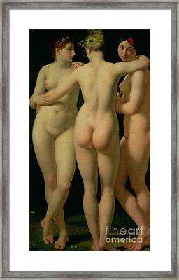 The Three Graces Framed Print by Jean Baptiste Regnault