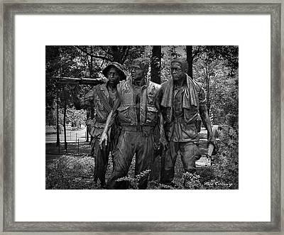 The Three Soldiers Duty Honor Country Vietnam Veterans Memorial  Framed Print by Reid Callaway