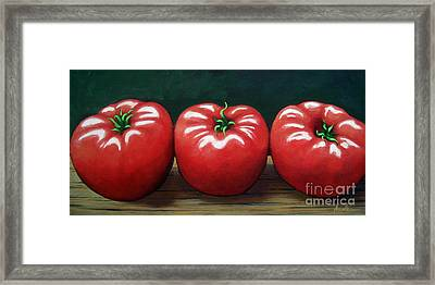 The Three Tomatoes - Realistic Still Life Food Art Framed Print by Linda Apple