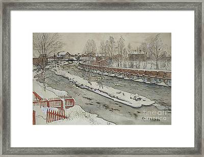 The Timber Chute, Winter Scene Framed Print by Carl Larsson