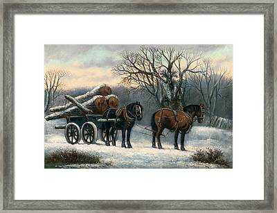 The Timber Wagon In Winter Framed Print by Anonymous