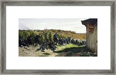 The Tirailleurs De La Seine At The Battle Of Rueil Malmaison Framed Print by Etienne Prosper Berne-Bellecour
