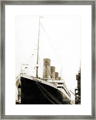 The Titanic Departing From Southanpton On Her Maiden Voyage Framed Print by English School
