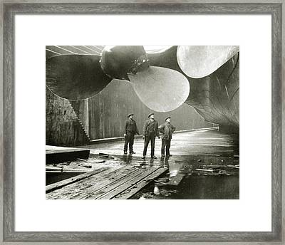 The Titanic's Propellers In The Thompson Graving Dock In Belfast Framed Print by English School