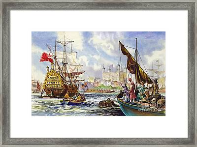 The Tower Of London In The Late 17th Century  Framed Print by English School