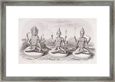 The Trimurti Or Hindu Trinity Framed Print by English School