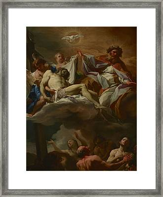 The Trinity With Souls In Purgatory Framed Print by Corrado Giaquinto