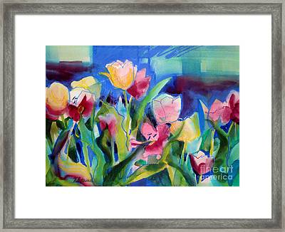 The Tulips Bed Rock Framed Print by Kathy Braud