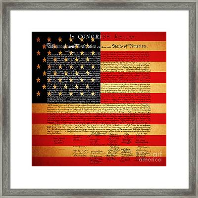 The United States Declaration Of Independence - American Flag - Square Framed Print by Wingsdomain Art and Photography