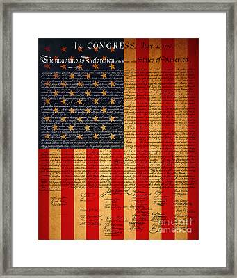 The United States Declaration Of Independence And The American Flag 20130215 Framed Print by Wingsdomain Art and Photography
