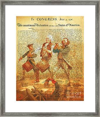 The United States Declaration Of Independence And The Spirit Of 76 20150704v2 Framed Print by Wingsdomain Art and Photography