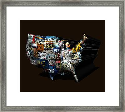 The United States License Plate Map Framed Print by Brian Reaves