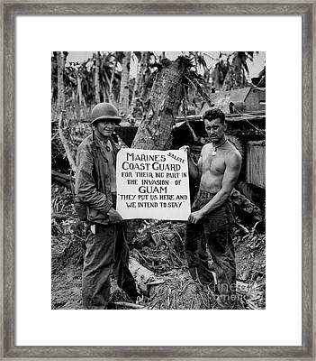 The U.s. Marines Salute The U.s. Coast Framed Print by Stocktrek Images