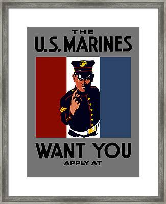The U.s. Marines Want You  Framed Print by War Is Hell Store