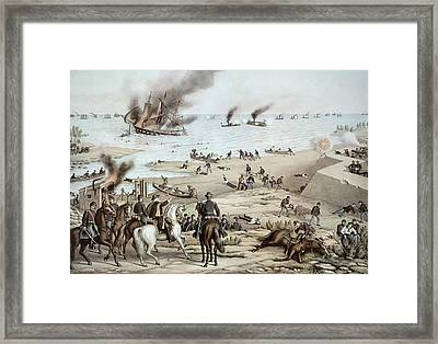 The Uss Monitor Fighting The Css Merrimack At The Battle Of Hampton Broads Framed Print by American School