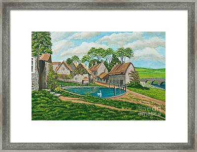 The Village Pond In Wroxton Framed Print by Charlotte Blanchard
