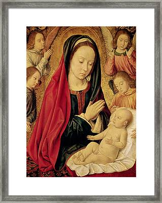 The Virgin And Child Adored By Angels  Framed Print by Jean Hey
