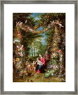 The Virgin And Child With The Infant Saint John The Baptist, Saint Anne And Angels, Surrounded By A  Framed Print by Brueghel and Balen