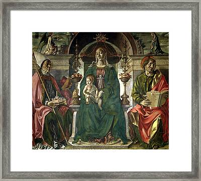 The Virgin And Saints Framed Print by Francesco del Cossa