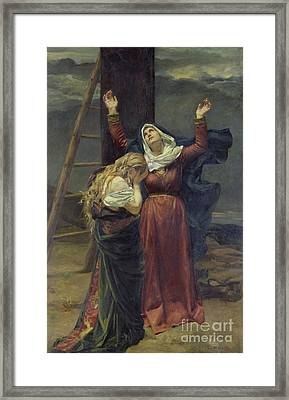 The Virgin At The Foot Of The Cross Framed Print by Jean Joseph Weerts