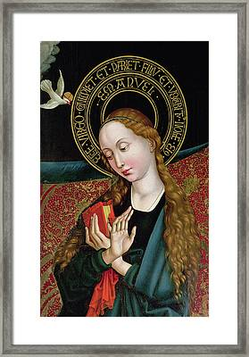 The Virgin From The Annunciation Framed Print by Martin Schongauer
