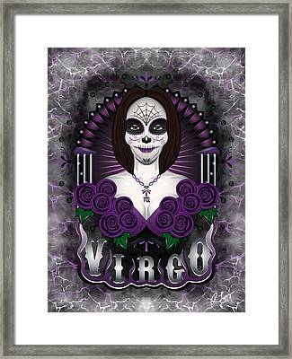 Framed Print featuring the drawing The Virgin - Virgo Spirit by Raphael Lopez