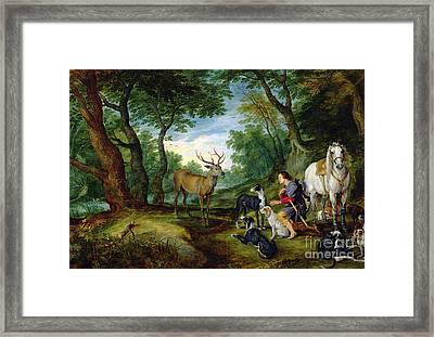 The Vision Of Saint Hubert Framed Print by Brueghel and Rubens