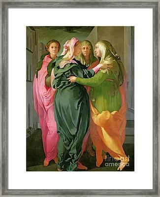 The Visitation Framed Print by Jacopo Pontormo
