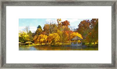 The Vt Duck Pond Framed Print by Kathy Jennings