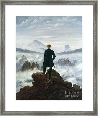 The Wanderer Above The Sea Of Fog Framed Print by Caspar David Friedrich