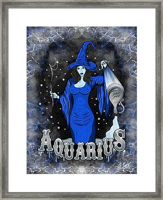 Framed Print featuring the drawing The Water Bearer - Aquarius Spirit by Raphael Lopez