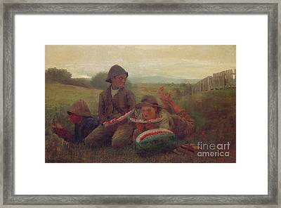 The Watermelon Boys Framed Print by Winslow Homer